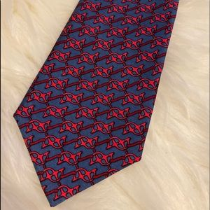 Hermes blue/ red silk chain tie